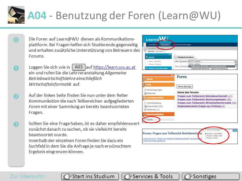  A04 - Benutzung der Foren (Learn@WU) Sonstiges Services & Tools Start ins Studium Zur Übersicht: Die Foren auf Learn@WU dienen als Kommunikat