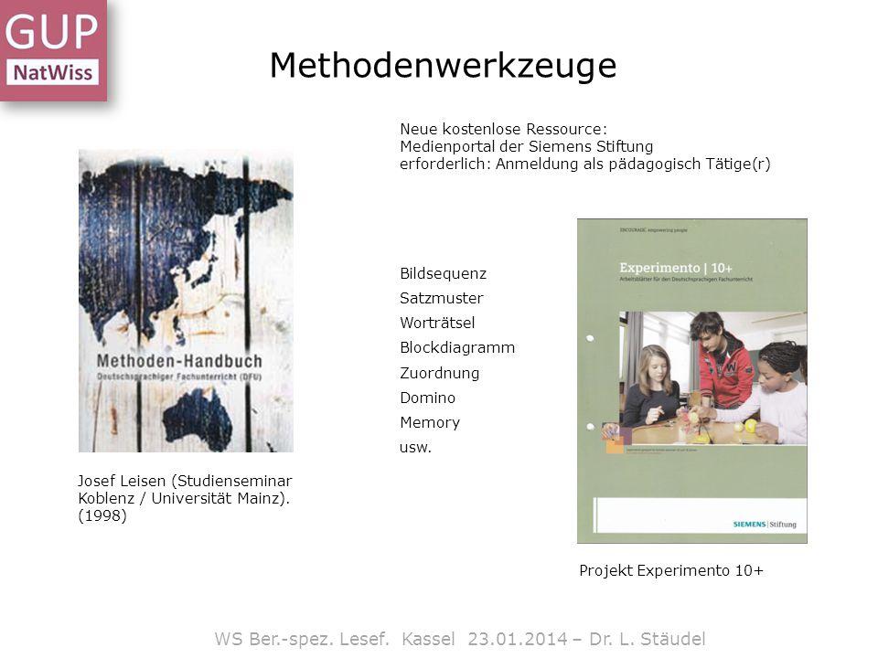 Methodenwerkzeuge Josef Leisen (Studienseminar Koblenz / Universität Mainz). (1998) Projekt Experimento 10+ WS Ber.-spez. Lesef. Kassel 23.01.2014 – D