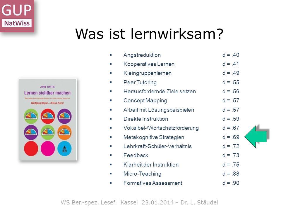WS Ber.-spez. Lesef. Kassel 23.01.2014 – Dr. L. Stäudel Was ist lernwirksam?  Angstreduktion d =.40  Kooperatives Lernend =.41  Kleingruppenlernend