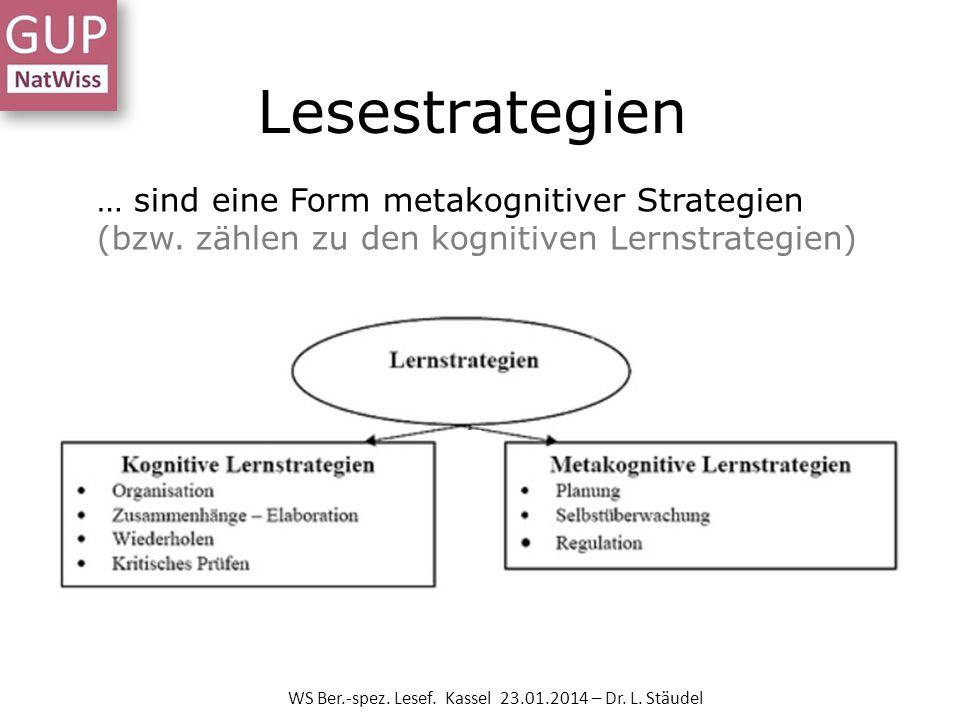 Lesestrategien WS Ber.-spez. Lesef. Kassel 23.01.2014 – Dr. L. Stäudel … sind eine Form metakognitiver Strategien (bzw. zählen zu den kognitiven Lerns