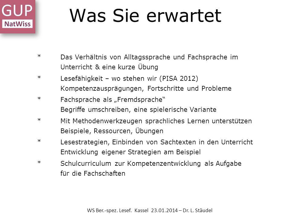 Was Sie erwartet *Das Verhältnis von Alltagssprache und Fachsprache im Unterricht & eine kurze Übung *Lesefähigkeit – wo stehen wir (PISA 2012) Kompet