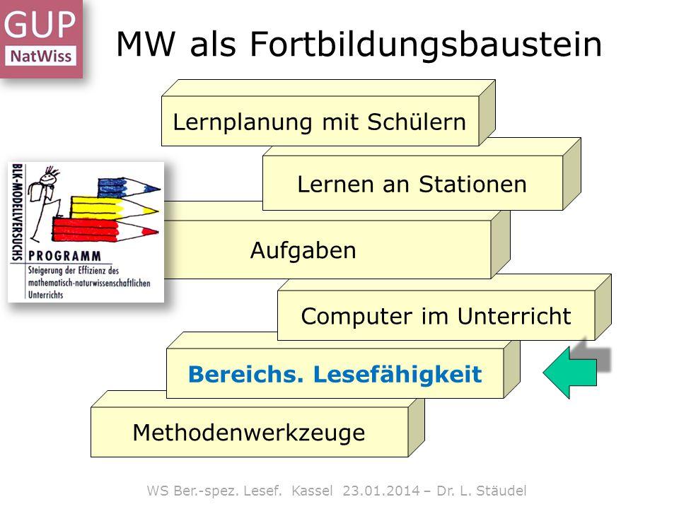 MW als Fortbildungsbaustein Methodenwerkzeuge Bereichs. Lesefähigkeit Computer im Unterricht Aufgaben Lernen an Stationen Lernplanung mit Schülern WS
