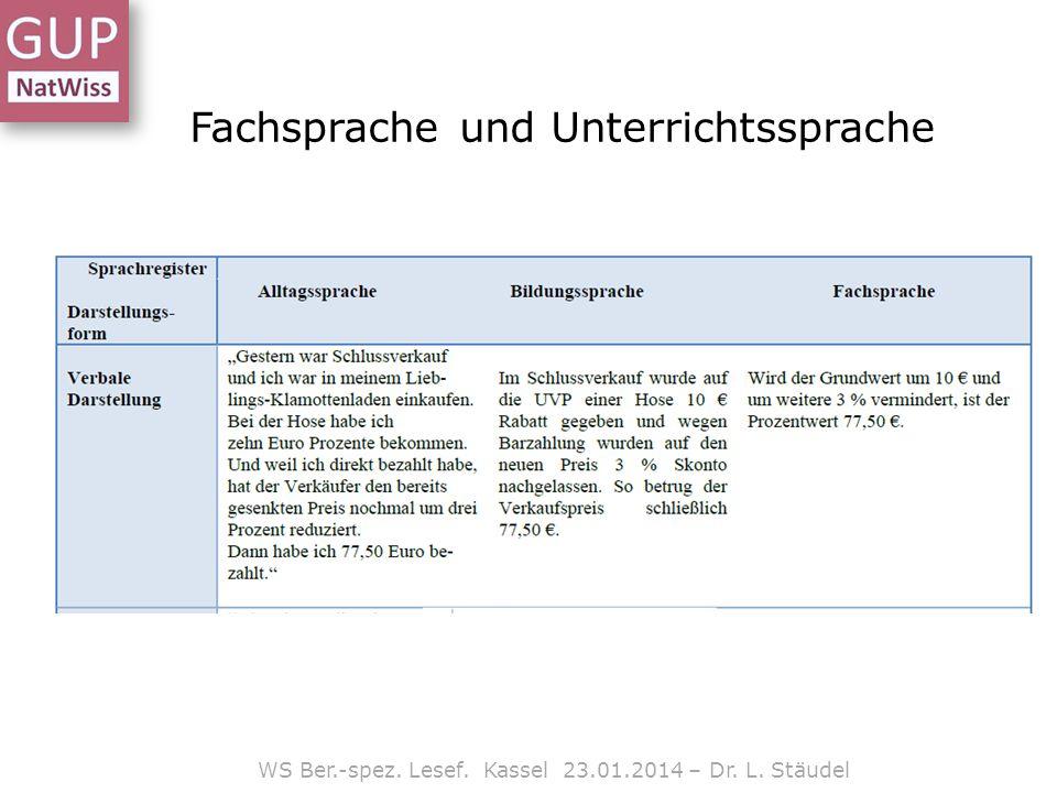 Lesefähigkeit WS Ber.-spez. Lesef. Kassel 23.01.2014 – Dr. L. Stäudel