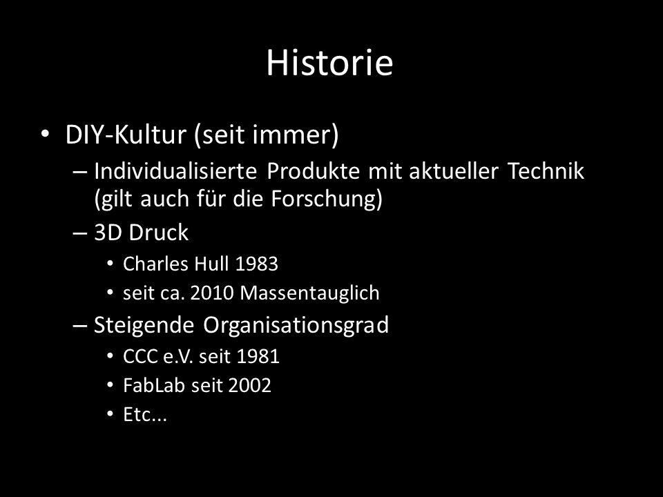 Historie DIY-Kultur (seit immer) – Individualisierte Produkte mit aktueller Technik (gilt auch für die Forschung) – 3D Druck Charles Hull 1983 seit ca.