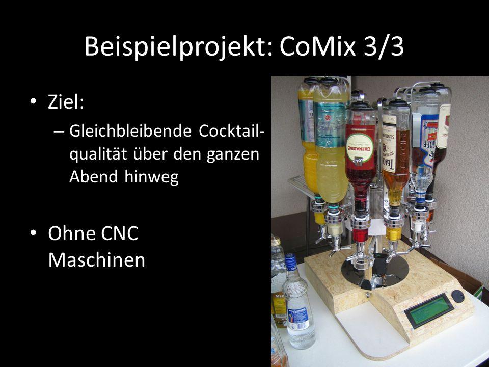 Beispielprojekt: CoMix 3/3 Ziel: – Gleichbleibende Cocktail- qualität über den ganzen Abend hinweg Ohne CNC Maschinen