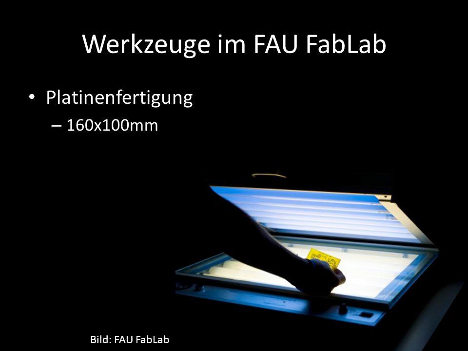 Werkzeuge im FAU FabLab Platinenfertigung – 160x100mm Bild: FAU FabLab