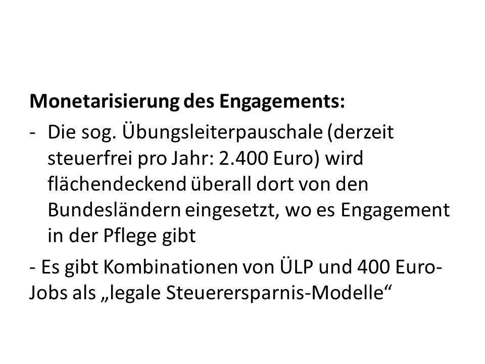 Monetarisierung des Engagements: -Die sog.