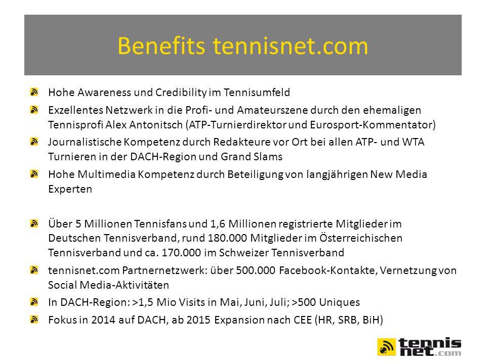 Benefits tennisnet.com Hohe Awareness und Credibility im Tennisumfeld Exzellentes Netzwerk in die Profi- und Amateurszene durch den ehemaligen Tennisprofi Alex Antonitsch (ATP-Turnierdirektor und Eurosport-Kommentator) Journalistische Kompetenz durch Redakteure vor Ort bei allen ATP- und WTA Turnieren in der DACH-Region und Grand Slams Hohe Multimedia Kompetenz durch Beteiligung von langjährigen New Media Experten Über 5 Millionen Tennisfans und 1,6 Millionen registrierte Mitglieder im Deutschen Tennisverband, rund 180.000 Mitglieder im Österreichischen Tennisverband und ca.