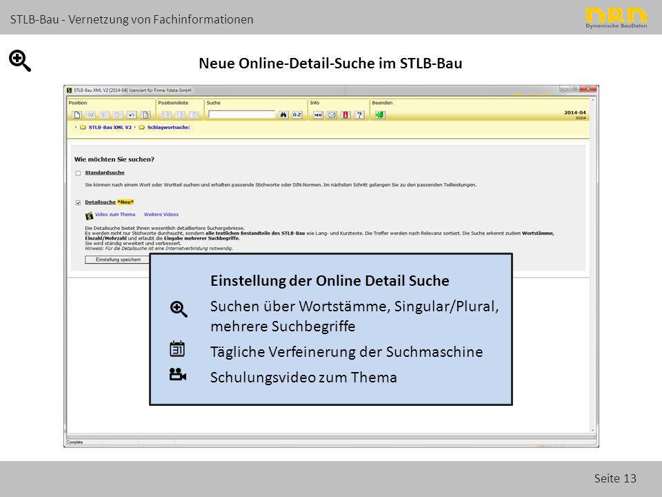 Seite 13 STLB-Bau - Vernetzung von Fachinformationen Neue Online-Detail-Suche im STLB-Bau Einstellung der Online Detail Suche Suchen über Wortstämme,