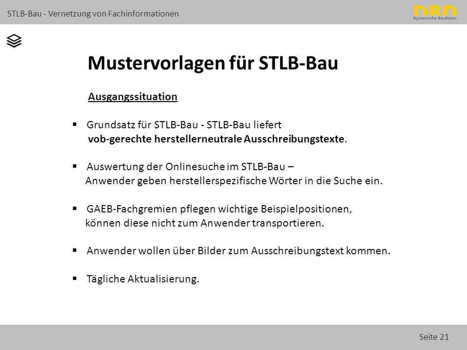 Seite 21 STLB-Bau - Vernetzung von Fachinformationen Mustervorlagen für STLB-Bau Ausgangssituation  Grundsatz für STLB-Bau - STLB-Bau liefert vob-ger
