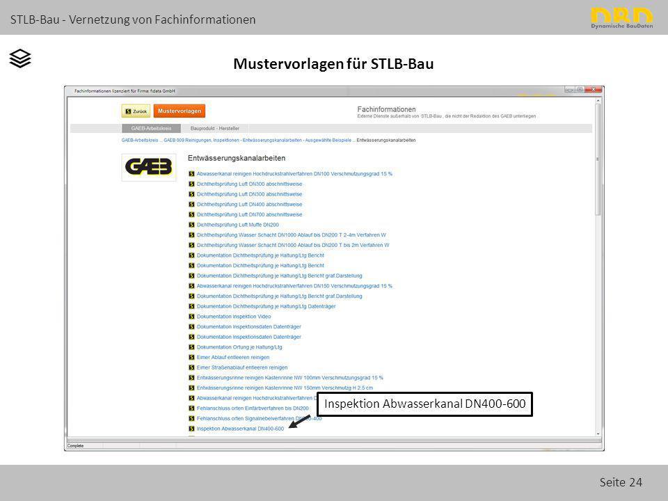 Seite 24 STLB-Bau - Vernetzung von Fachinformationen Mustervorlagen für STLB-Bau Inspektion Abwasserkanal DN400-600