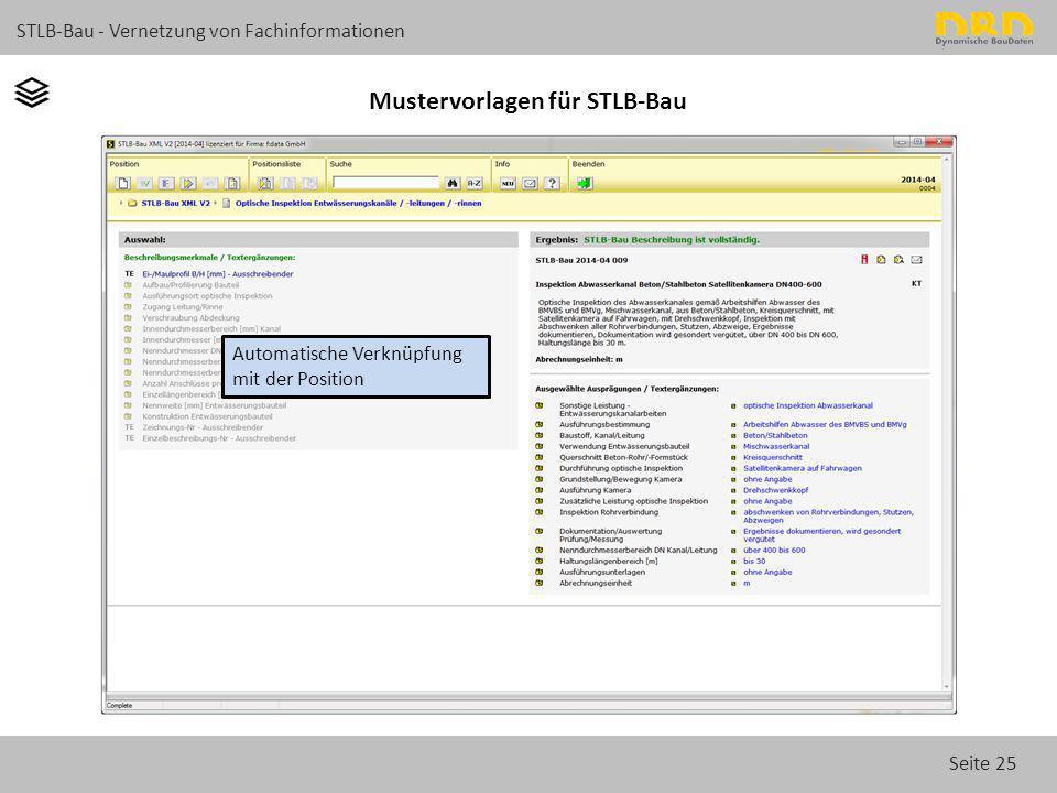 Seite 25 STLB-Bau - Vernetzung von Fachinformationen Mustervorlagen für STLB-Bau Automatische Verknüpfung mit der Position