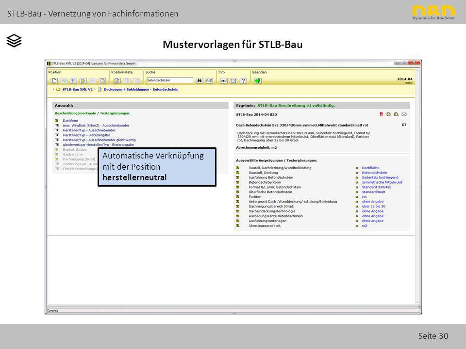 Seite 30 STLB-Bau - Vernetzung von Fachinformationen Mustervorlagen für STLB-Bau Automatische Verknüpfung mit der Position herstellerneutral