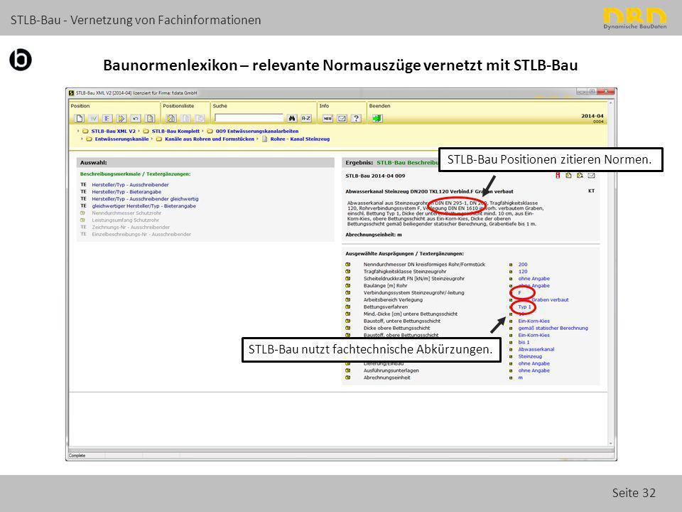 Seite 32 STLB-Bau - Vernetzung von Fachinformationen Baunormenlexikon – relevante Normauszüge vernetzt mit STLB-Bau STLB-Bau Positionen zitieren Norme