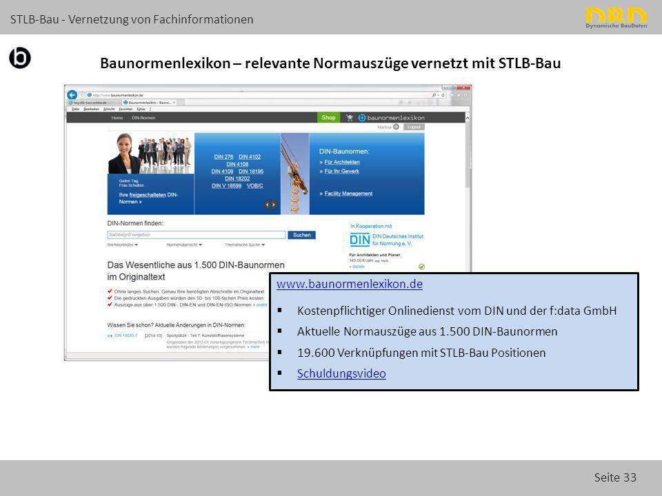 Seite 33 STLB-Bau - Vernetzung von Fachinformationen Baunormenlexikon – relevante Normauszüge vernetzt mit STLB-Bau www.baunormenlexikon.de  Kostenpf