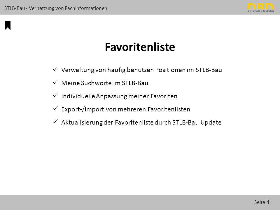 Seite 4 STLB-Bau - Vernetzung von Fachinformationen Favoritenliste Verwaltung von häufig benutzen Positionen im STLB-Bau Meine Suchworte im STLB-Bau I