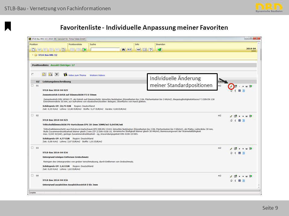 Seite 9 STLB-Bau - Vernetzung von Fachinformationen Favoritenliste - Individuelle Anpassung meiner Favoriten Individuelle Änderung meiner Standardposi