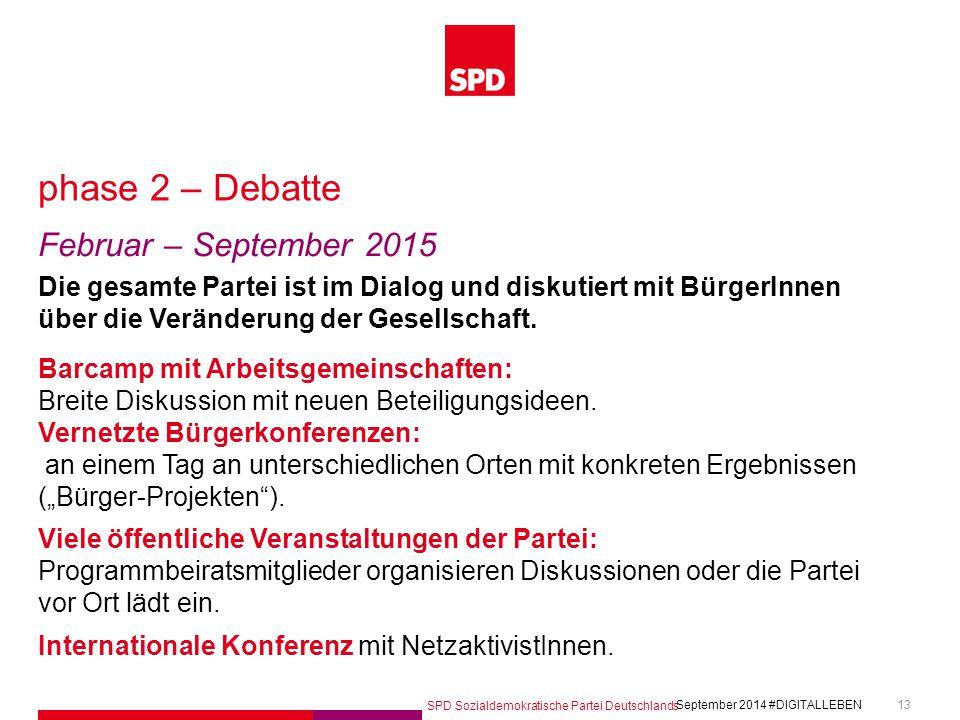 SPD Sozialdemokratische Partei Deutschlands #DIGITALLEBEN September 2014 13 phase 2 – Debatte Februar – September 2015 Die gesamte Partei ist im Dialog und diskutiert mit BürgerInnen über die Veränderung der Gesellschaft.