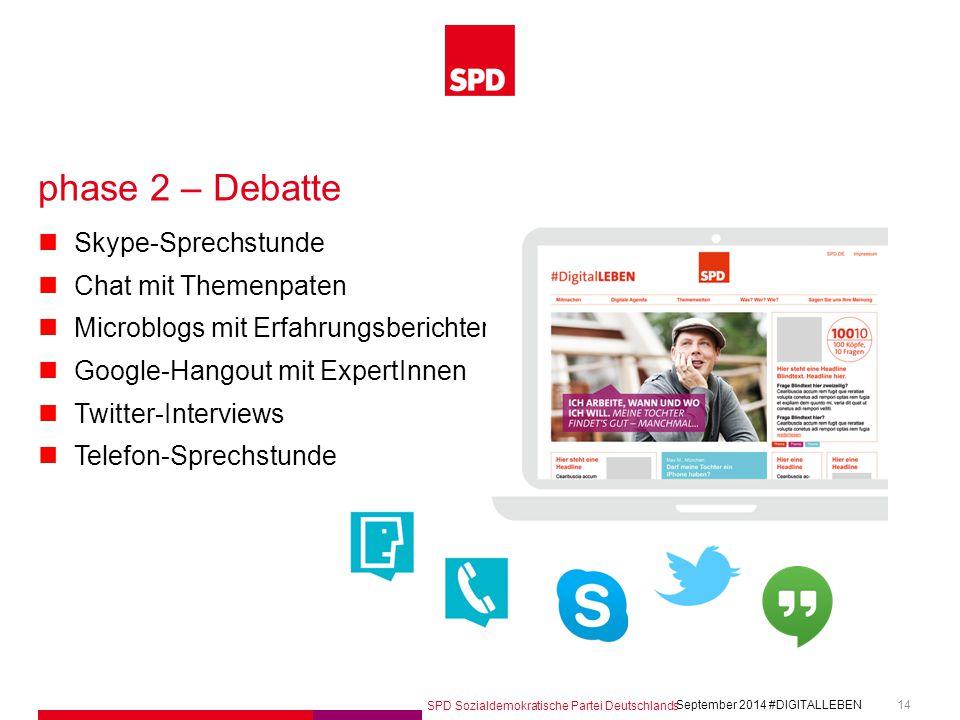 SPD Sozialdemokratische Partei Deutschlands #DIGITALLEBEN September 2014 14 phase 2 – Debatte Skype-Sprechstunde Chat mit Themenpaten Microblogs mit E