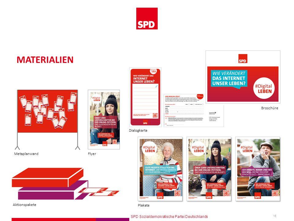 SPD Sozialdemokratische Partei Deutschlands 16 MATERIALIEN Plakate Broschüre Dialogkarte FlyerMetaplanwand Aktionspakete