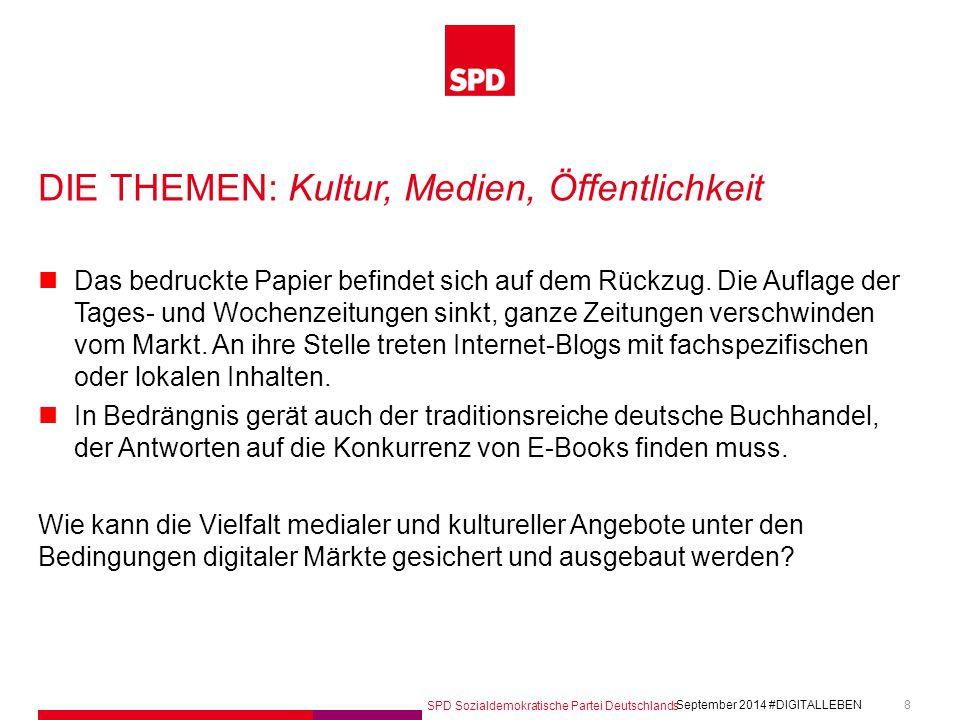 SPD Sozialdemokratische Partei Deutschlands #DIGITALLEBEN September 2014 8 DIE THEMEN: Kultur, Medien, Öffentlichkeit Das bedruckte Papier befindet sich auf dem Rückzug.