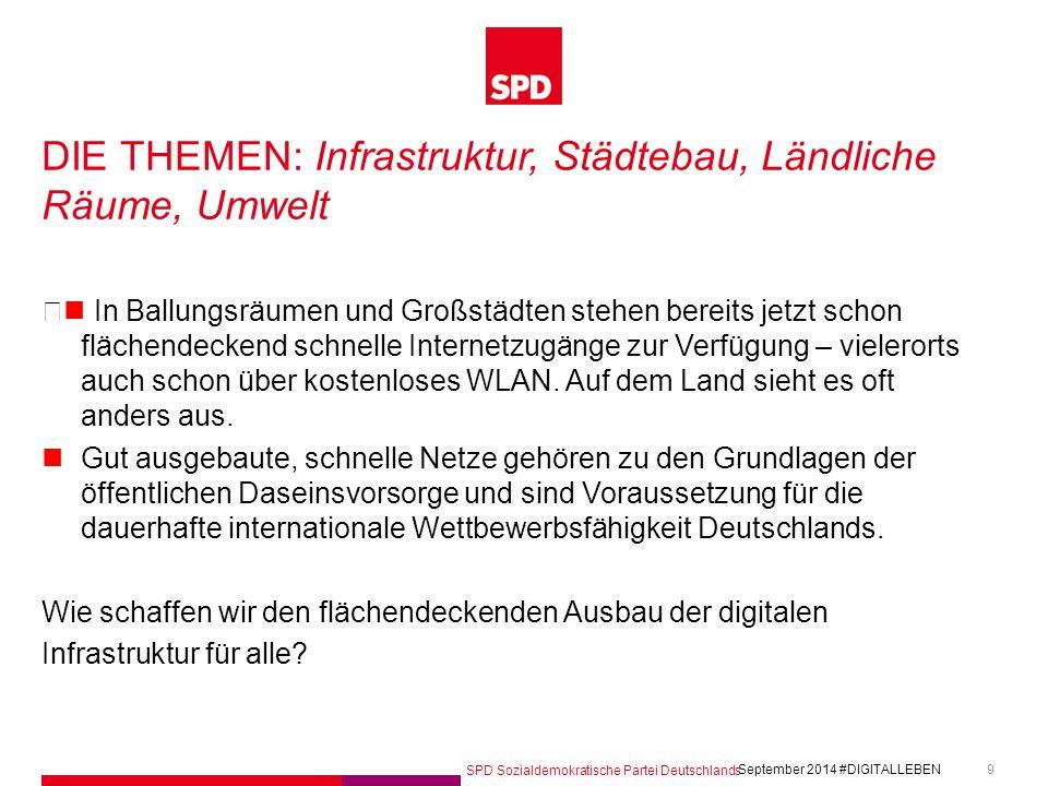 SPD Sozialdemokratische Partei Deutschlands #DIGITALLEBEN September 2014 9 DIE THEMEN: Infrastruktur, Städtebau, Ländliche Räume, Umwelt In Ballungsräumen und Großstädten stehen bereits jetzt schon flächendeckend schnelle Internetzugänge zur Verfügung – vielerorts auch schon über kostenloses WLAN.