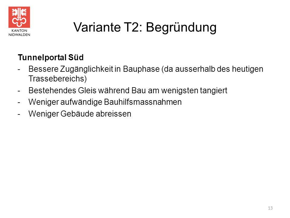 Variante T2: Begründung Tunnelportal Süd -Bessere Zugänglichkeit in Bauphase (da ausserhalb des heutigen Trassebereichs) -Bestehendes Gleis während Ba