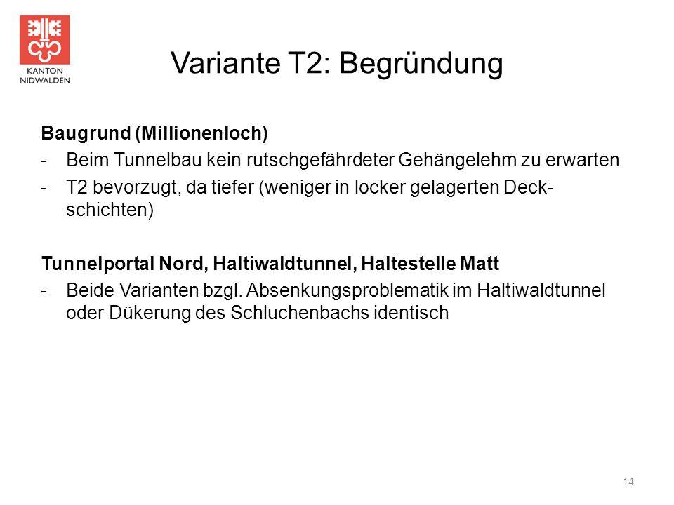 Variante T2: Begründung Baugrund (Millionenloch) -Beim Tunnelbau kein rutschgefährdeter Gehängelehm zu erwarten -T2 bevorzugt, da tiefer (weniger in l