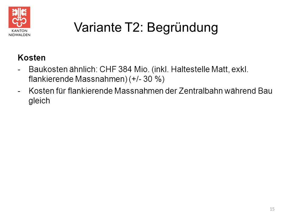 Variante T2: Begründung Kosten -Baukosten ähnlich: CHF 384 Mio. (inkl. Haltestelle Matt, exkl. flankierende Massnahmen) (+/- 30 %) -Kosten für flankie