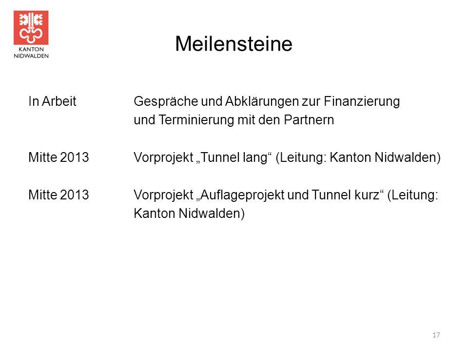 """Meilensteine In Arbeit Gespräche und Abklärungen zur Finanzierung und Terminierung mit den Partnern Mitte 2013Vorprojekt """"Tunnel lang"""" (Leitung: Kanto"""