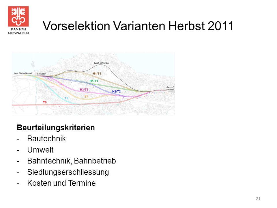 Vorselektion Varianten Herbst 2011 Beurteilungskriterien - Bautechnik -Umwelt -Bahntechnik, Bahnbetrieb -Siedlungserschliessung -Kosten und Termine 21