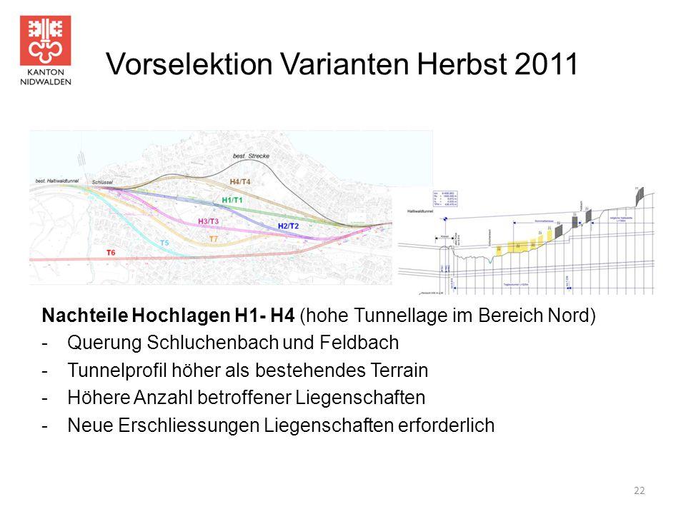Vorselektion Varianten Herbst 2011 Nachteile Hochlagen H1- H4 (hohe Tunnellage im Bereich Nord) -Querung Schluchenbach und Feldbach -Tunnelprofil höhe