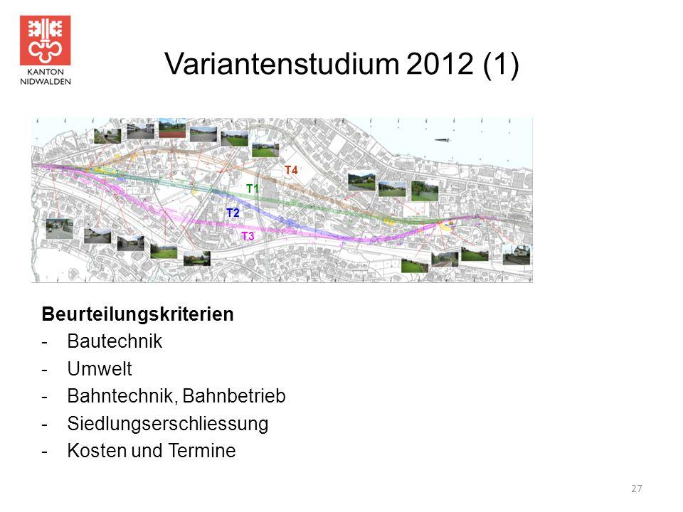 Variantenstudium 2012 (1) 27 T1 T2 T3 T4 Beurteilungskriterien -Bautechnik -Umwelt -Bahntechnik, Bahnbetrieb -Siedlungserschliessung -Kosten und Termi
