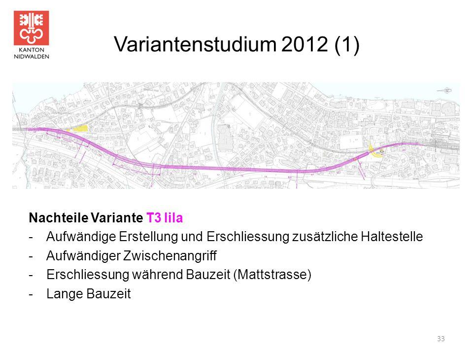 Variantenstudium 2012 (1) Nachteile Variante T3 lila -Aufwändige Erstellung und Erschliessung zusätzliche Haltestelle -Aufwändiger Zwischenangriff -Er