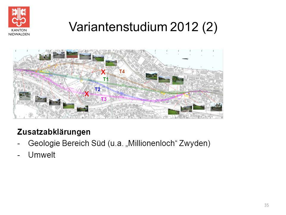 """Variantenstudium 2012 (2) 35 Zusatzabklärungen -Geologie Bereich Süd (u.a. """"Millionenloch"""" Zwyden) -Umwelt T1 T2 T3 T4 x x"""