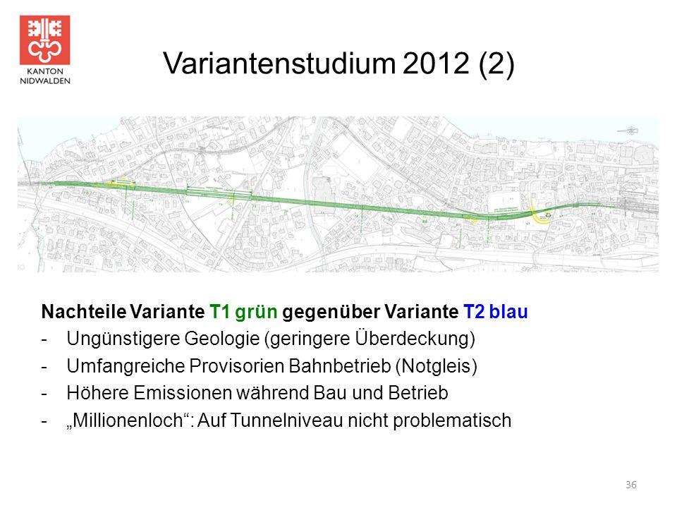 Variantenstudium 2012 (2) Nachteile Variante T1 grün gegenüber Variante T2 blau -Ungünstigere Geologie (geringere Überdeckung) -Umfangreiche Provisori