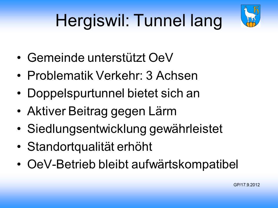 Hergiswil: Tunnel lang Gemeinde unterstützt OeV Problematik Verkehr: 3 Achsen Doppelspurtunnel bietet sich an Aktiver Beitrag gegen Lärm Siedlungsentw