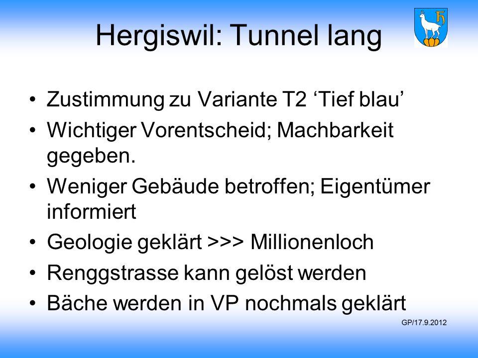 Hergiswil: Tunnel lang Zustimmung zu Variante T2 'Tief blau' Wichtiger Vorentscheid; Machbarkeit gegeben. Weniger Gebäude betroffen; Eigentümer inform
