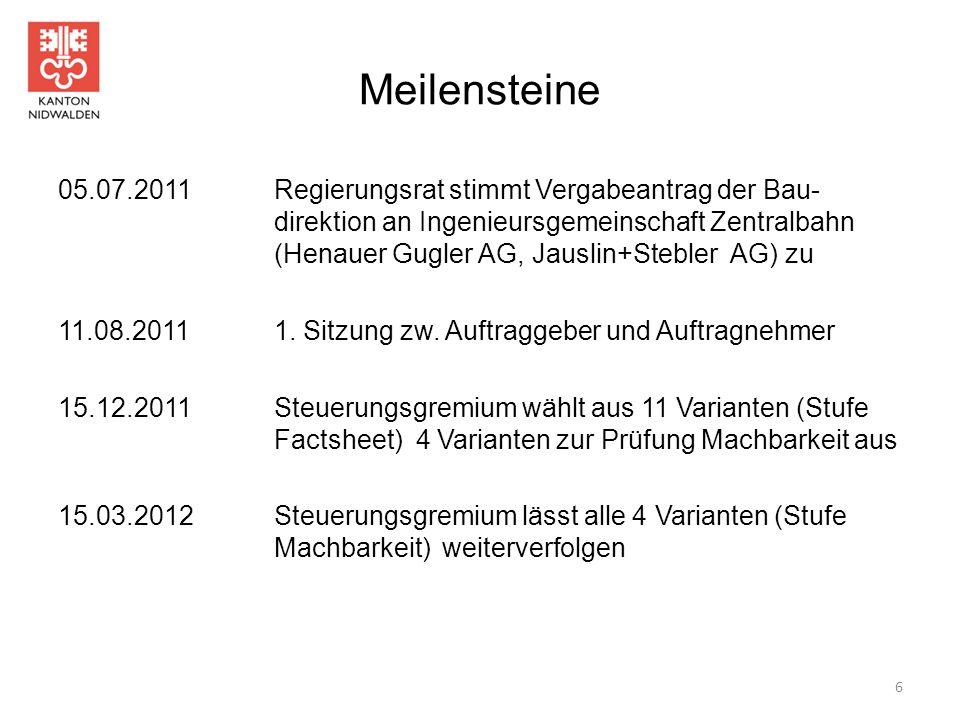 Meilensteine 05.07.2011Regierungsrat stimmt Vergabeantrag der Bau- direktion an Ingenieursgemeinschaft Zentralbahn (Henauer Gugler AG, Jauslin+Stebler