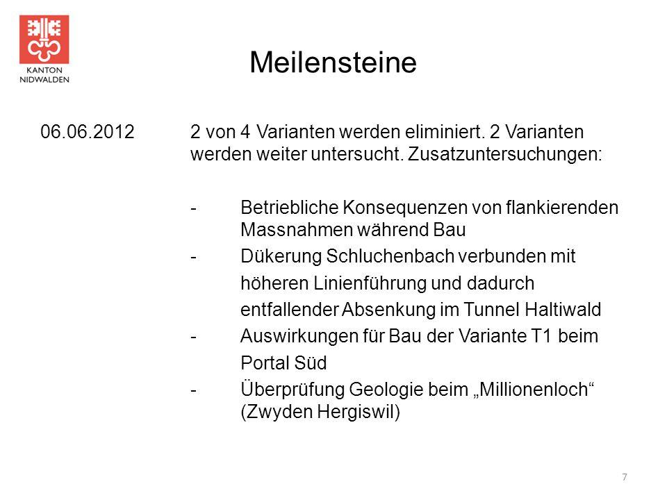 Meilensteine 06.06.20122 von 4 Varianten werden eliminiert. 2 Varianten werden weiter untersucht. Zusatzuntersuchungen: - Betriebliche Konsequenzen vo