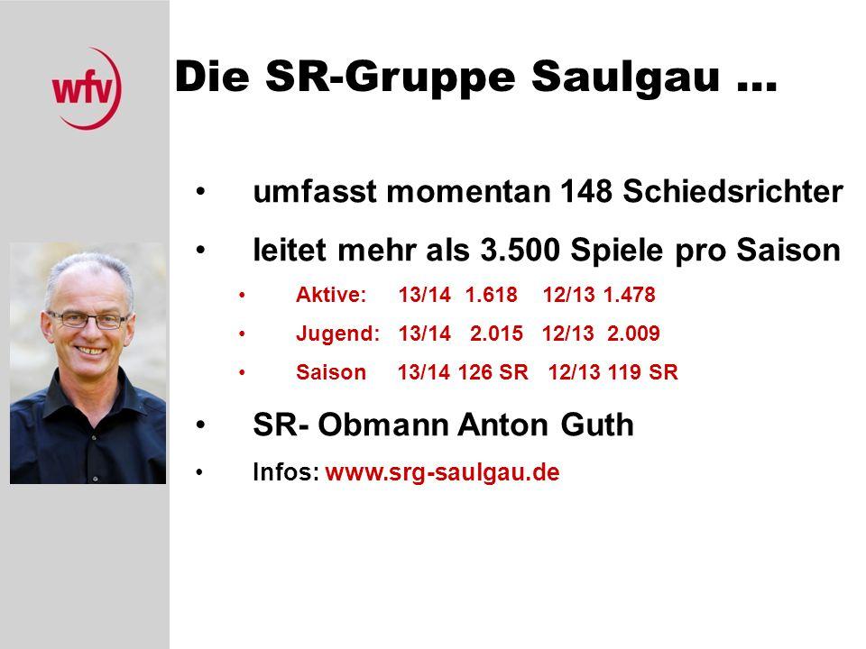Die SR-Gruppe Saulgau... umfasst momentan 148 Schiedsrichter leitet mehr als 3.500 Spiele pro Saison Aktive: 13/14 1.618 12/13 1.478 Jugend: 13/14 2.0