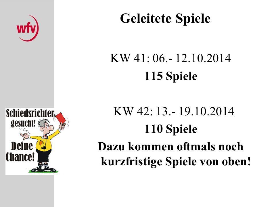 Geleitete Spiele KW 41: 06.- 12.10.2014 115 Spiele KW 42: 13.- 19.10.2014 110 Spiele Dazu kommen oftmals noch kurzfristige Spiele von oben!