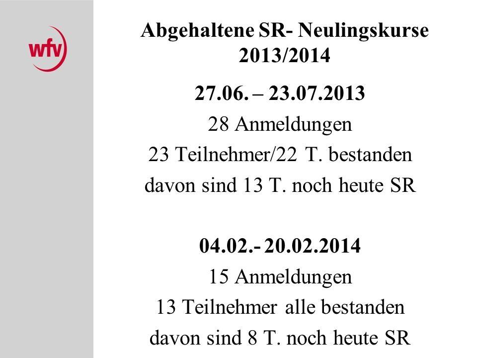 Abgehaltene SR- Neulingskurse 2013/2014 27.06. – 23.07.2013 28 Anmeldungen 23 Teilnehmer/22 T. bestanden davon sind 13 T. noch heute SR 04.02.- 20.02.
