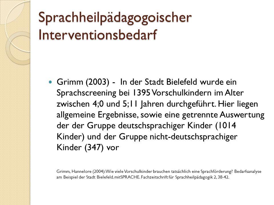 Sprachheilpädagogoischer Interventionsbedarf Grimm (2003) - In der Stadt Bielefeld wurde ein Sprachscreening bei 1395 Vorschulkindern im Alter zwische