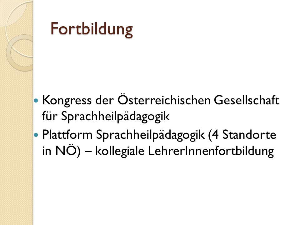 Fortbildung Kongress der Österreichischen Gesellschaft für Sprachheilpädagogik Plattform Sprachheilpädagogik (4 Standorte in NÖ) – kollegiale LehrerIn