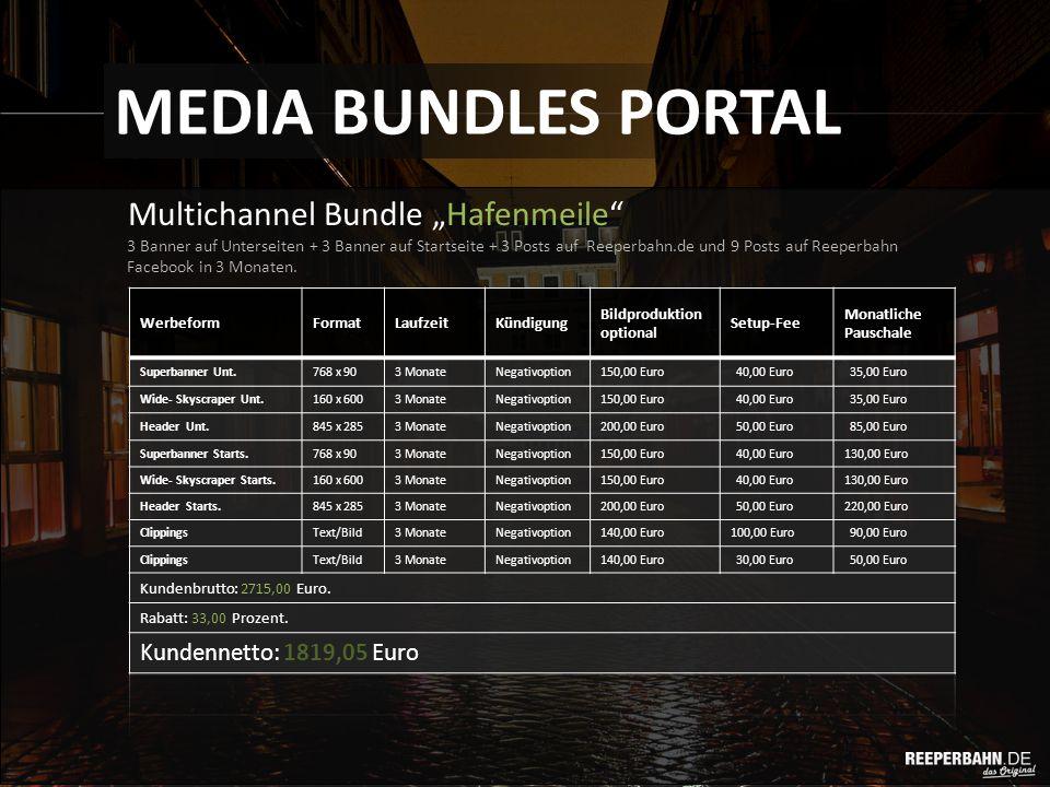 """Multichannel Bundle """"Hafenmeile MEDIA BUNDLES PORTAL 3 Banner auf Unterseiten + 3 Banner auf Startseite + 3 Posts auf Reeperbahn.de und 9 Posts auf Reeperbahn Facebook in 3 Monaten."""