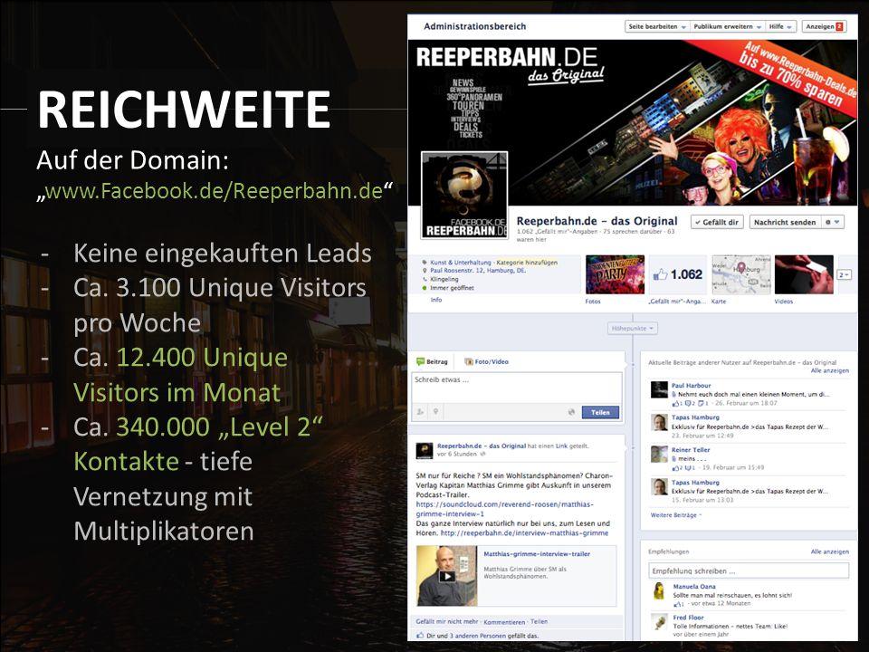 """Auf der Domain: """"www.Facebook.de/Reeperbahn.de REICHWEITE -Keine eingekauften Leads -Ca."""