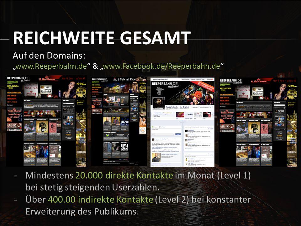 """Auf den Domains: """"www.Reeperbahn.de & """"www.Facebook.de/Reeperbahn.de REICHWEITE GESAMT -Mindestens 20.000 direkte Kontakte im Monat (Level 1) bei stetig steigenden Userzahlen."""