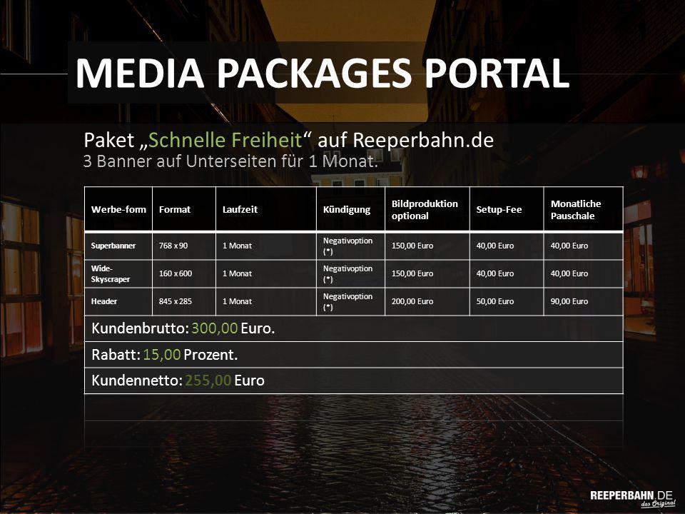 """Paket """"Schnelle Freiheit auf Reeperbahn.de MEDIA PACKAGES PORTAL 3 Banner auf Unterseiten für 1 Monat."""
