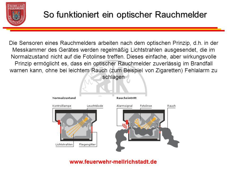 www.feuerwehr-mellrichstadt.de Die Sensoren eines Rauchmelders arbeiten nach dem optischen Prinzip, d.h. in der Messkammer des Gerätes werden regelmäß